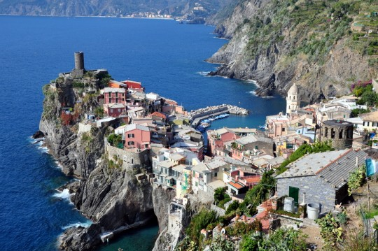 View of Vernazza Village from hiking Cinque Terre