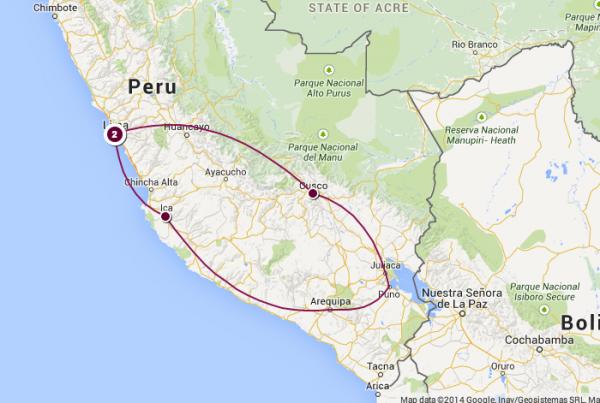 Peru-route-map