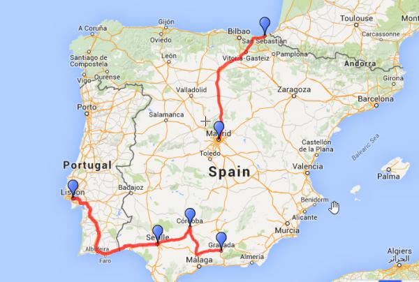 Spain bus route